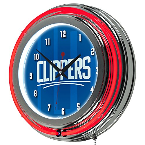 - Trademark Gameroom NBA1400-LAC2 NBA Chrome Double Rung Neon Clock - Fade - Los Angeles Clippers