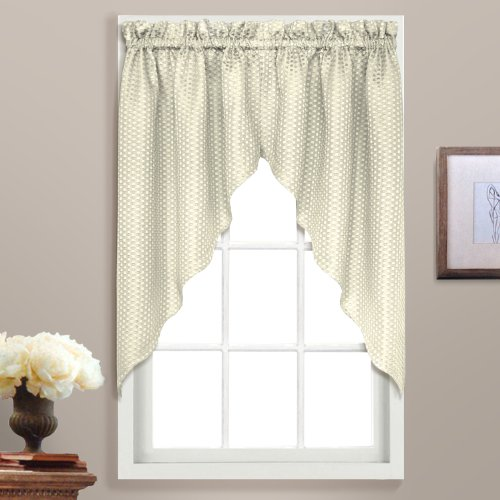 United Curtain Hamden Woven Waffle Swags, 55 by 38-Inch, Ivory, Set of 2