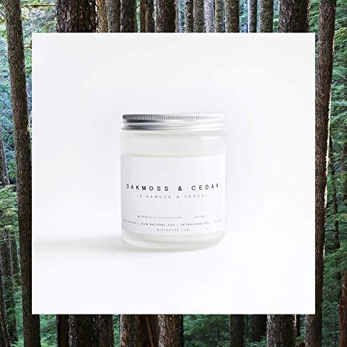 Oak Moss and Cedar Wood Essential Oil Candle, 8 Ounce