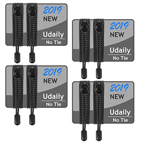 Udaily 1 or 4 Pairs No Tie Shoelaces for Kids and Adults, Elastic Shoe Laces for Sneaker -