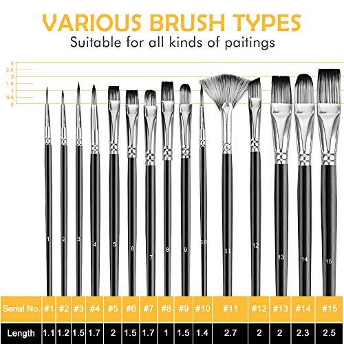 Acrylic Paint Brush Set,60 Piece Professional Painting Set,Includes 24 Acrylic Paints,30 Pcs Paint Brushes with Case,2 Paint Knife,2 Sponge,1 Palette for Oil,for Artists,Students,Beginner
