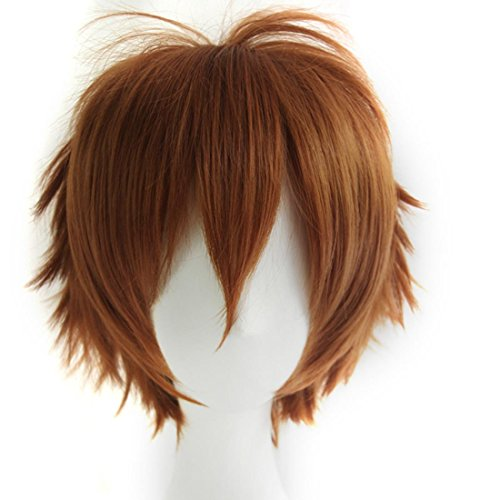 Alacos Unisex Cosplay Short Straight Hair Wig Girl Boy Anime Con Party Dress Wigs Brown Wig+ Free Wig -