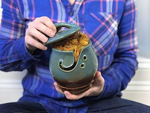 Darn Good Yarn Handcrafted Ceramic Knitting Yarn Bowl 5 x 4.5 Inches Decorative Blue Agate Design