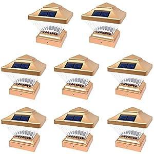 8 Pack Copper Outdoor Garden 4 x 4 Solar LED Post Deck Cap Square Fence Light Landscape Lamp Lawn PVC Vinyl Wood