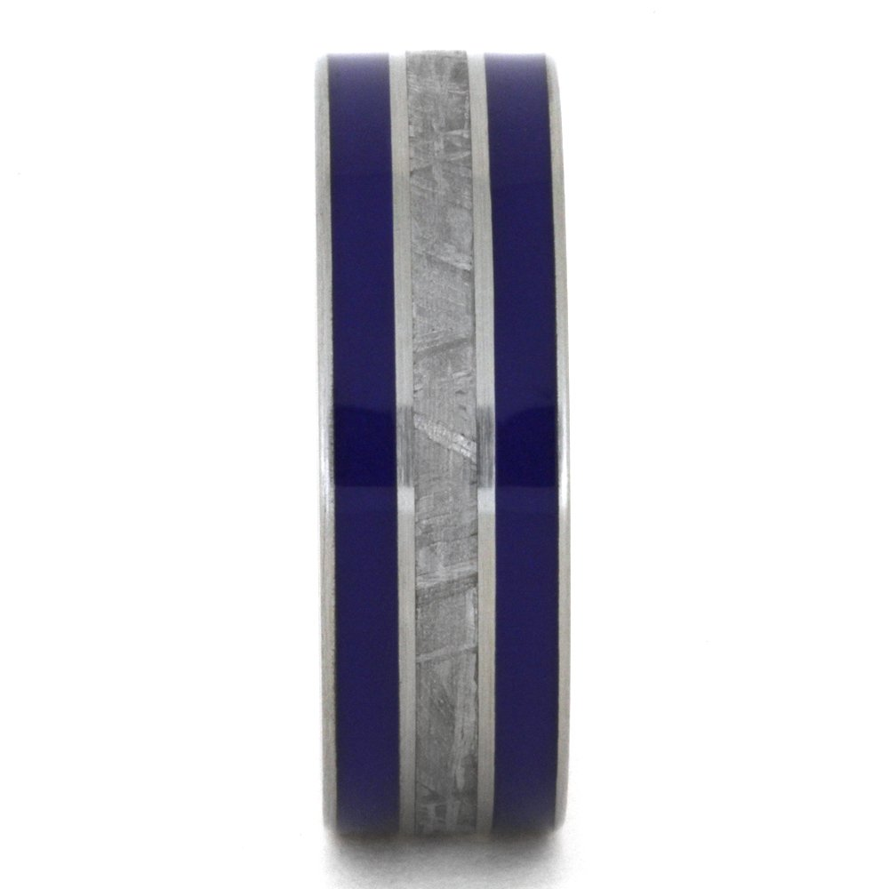 Meteorite, Blue Enamel Inlay 8mm Comfort-Fit Brushed Titanium Band, Size 14.5 by The Men's Jewelry Store (Unisex Jewelry) (Image #2)