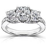 Diamond Three-Stone Engagement Ring 1 1/2 Carats (ctw) in Platinum (Certified)