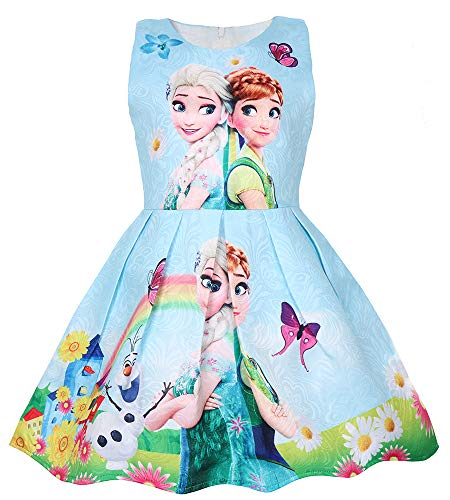 WNQY Princess Elsa Role Play Costume Party Dress Little Girls Anna Cosplay Dress up (140/6-7Y, Light Blue) (Play Dress Role)