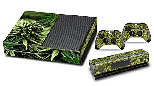 Designer-Skin-Sticker-for-the-Xbox-One-Console-With-Two-Wireless-Controller-Decals-Skunk-Bud
