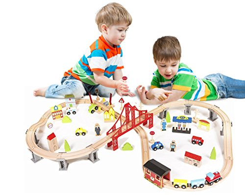 Pidoko Kids Wooden Train Set - City Railway Super Highway 70 Pieces - Tracks Compatible with all major brands
