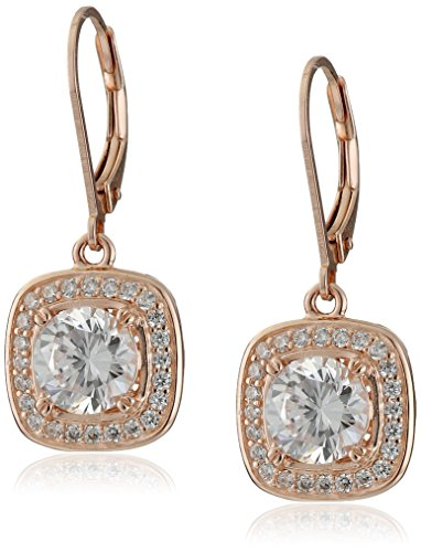 14k Rose Gold Plated Sterling Silver Cubic Zirconia Halo Set Leverback Drop Earrings