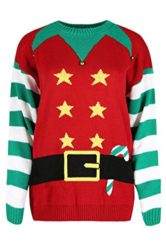 Elf Uk Costume (Girls Walk Unisex Novelty Elf Costume Knitted Christmas)