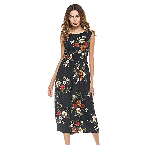 Sumeimiya Women Bohemia Dress, Ladies Sexy Floral Print Long Dress Casual Sleeveless Beach Party Dress Black
