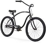 Firmstrong Chief Man Three Speed Beach Cruiser Bicycle, 26-Inch, Matte Black