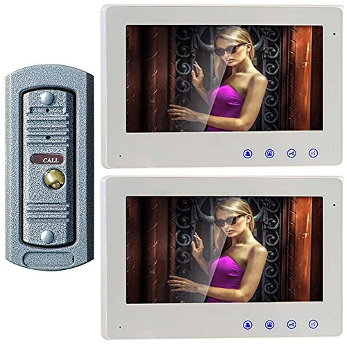 LCD Video Door Phone Kit, 1 Outdoor Doorbell 2 Indoor Monitors (Whole House Intercom Audio)