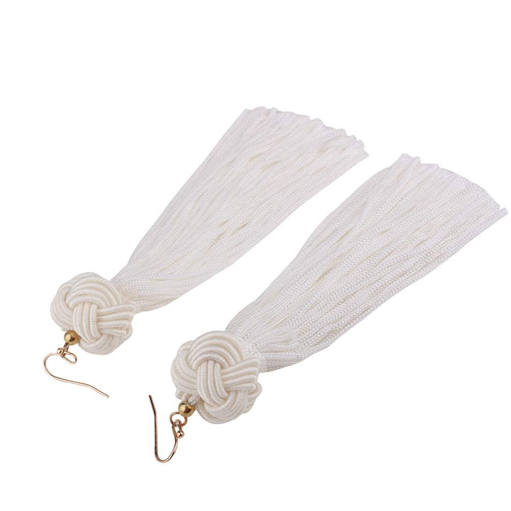 Hand Woven Thread Tassel Earrings Bohemian Ethnic Fringe Dangle Drop Earrings Statement Earrings