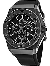 TW Steel CEO Diver Stainless Steel Power Reserve Automatic Watch - Black Dial Day Date Month 24-hour TW Steel Watch Mens - Black Rubber Band 44mm Chronograph Dive Watch CE5000