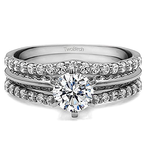 Sterling Silver Double Shared Prong Curved Ring Guard with Diamonds (G H,I2 I3) (0.24 ct. tw.)