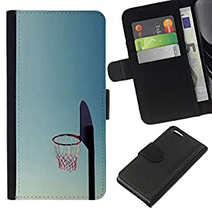 NEECELL GIFT forCITY // Billetera de cuero Caso Cubierta de protección Carcasa / Leather Wallet Case for Apple Iphone 5C // Cancha de Baloncesto aro