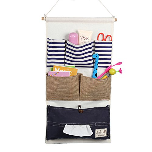 Fieans Home Over the Door Magazine Storage Pockets, Linen/Cotton Fabric Wall Door Closet Hanging Storage Bag Organizer-Blue Strip Type A