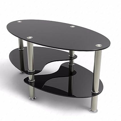 SUNCOO Glass Coffee Table Shelf Chrome Base Living Room Furniture (Oval  Side, Black)