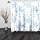 HAIXIA Shower Curtain Roses Faint Faded Floral Dreamy Branch Plant Fashion Pastel Spring Design Home Queen Full Soft Blue White