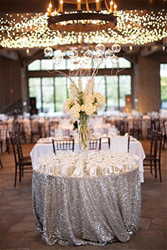 """51QIki68q L - 156"""" Round Sparkly silver Sequin Table Cloth Sequin Table Cloth,Cake Sequin Tablecloths, Sequin Linens for Wedding"""