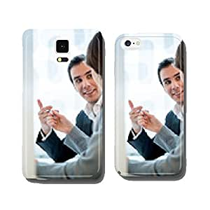 Side view of a businesswoman offering a pen to a businessman cell phone cover case iPhone6