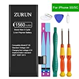 ZURUN 1560mAh High Capacity Li-ion Polymer Replacement 5S/5C Battery Compatible with iPhone 5S/5C with Repair Replacement Kit Tools Adhesive Strips 0 Cycle -2 Year Warranty (Not for iP5)