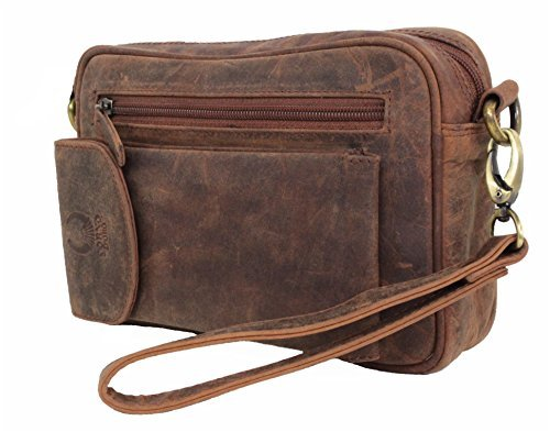 Wrist Bag Leather For Men Women Shoulder Bag Genuine Leather Purse Travel Organizer Crossbody Handmade Vintage with Phone Pocket tan Buffalo