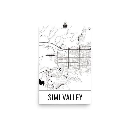 Amazon.com: Modern Map Art Simi Valley Print, Simi Valley ... on map of central valley ca, map of england valleys, map of israel valleys,