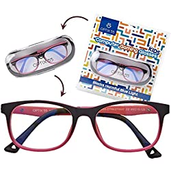 Kid's Blue Light Blocking Glasses - Flexible Pink Square Frames, Computer and Gaming Eyeglasses for Girls - Bendable and Unbreakable - by Optix 55