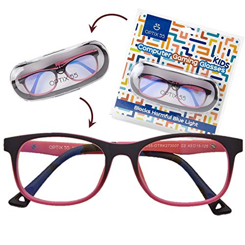 Kid's Blue Light Blocking Glasses – Flexible Pink Square Frames, Computer and Gaming Eyeglasses for Girls - Bendable and Unbreakable - by Optix 55
