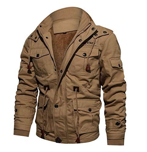CRYSULLY Men's Autumn Windbreaker Coat Outdoor Hooded Cargo Cotton Utility Full Zip Jacket Khaki/US XS/tagL