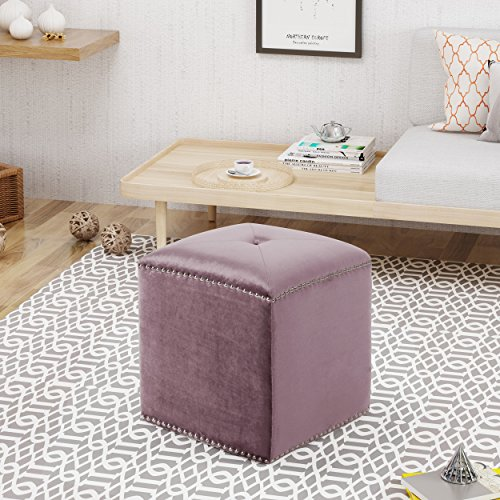 Christopher Knight Home Allen Glam Velvet Ottoman, Lilac