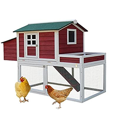 Pawhut Wooden Chicken Coop Poultry Cage Hutch with Display Top, Run Area and Nesting Box