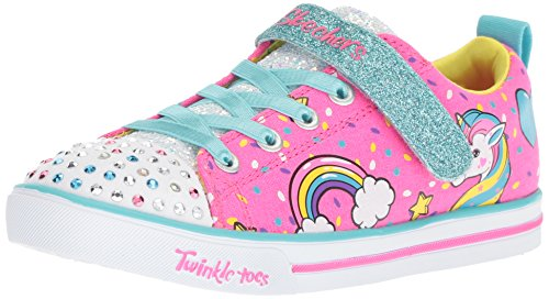 (Skechers Kids Girls' Sparkle LITE-Unicorn Craze Sneaker, neon Pink/Multi, 9 Medium US)