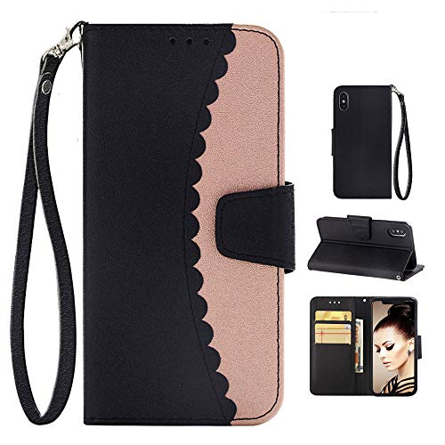 iPhone Xs Max Case Wallet for Women, iPhone Xs Max Case Leather Card Holder Kickstand Strap,iPhone Xs Max Case Silicone Bumper iPhone Xs Max Case Heavy Duty Cases for iPhone Xs MAX 6.5 Inch-Rose Gold - Apple Womens Wallet
