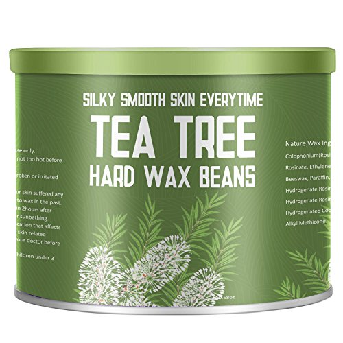 【Tea Tree Essential Oil】Yeelen Essential Oil Hard Wax Beans Hair Removal Wax Beads with 10 Applicator Sticks for Facial Body Brazilian Bikini At Home Waxing, 10.58oz/300g