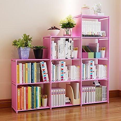 Fashine DIY Adjustable Bookcase Bookshelf With 9 Book Shelves Home Furniture Storage Pink