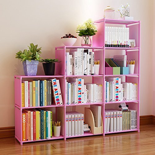 Amazon.com: Fashine DIY Adjustable Bookcase, Bookshelf with 9 Book ...