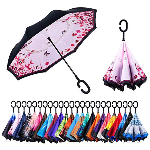 NewSight Reverse/Inverted Double-Layer Waterproof Straight Umbrella, Self-Standing & C-Shape Handle & Carrying Bag for Free Hands, Inside-Out Folding for Car Use (First Love)