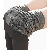 Fenical Invierno cálido Polar Forrado Polainas Calcetines Calcetines Calientes térmicos Gruesos Leggings Negro Inferior para Mujeres niñas 200 g (Gris)