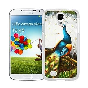 BINGO New style Peacock Watercolor Samsung Galaxy S4 i9500 Case White Cover