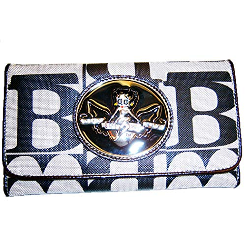 Betty Boop black signature L checkbook wallet monogram metal logo (black) Betty Boop Print Wallet