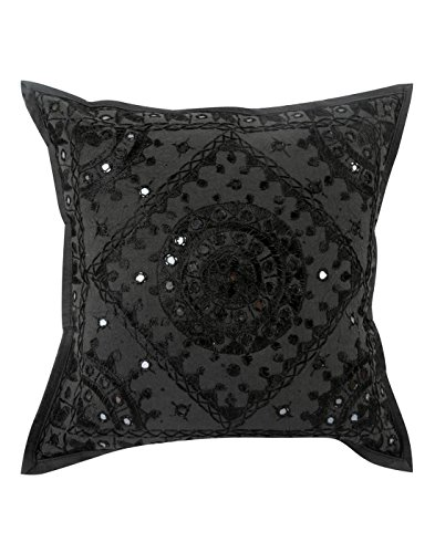 Vintage schwarze Einzel Wohnzimmer Zubehör Kissenbezüge 16x16 Geometric gestickter Dekokissen Handarbeit Baumwolle Kissenbezug von Rajrang