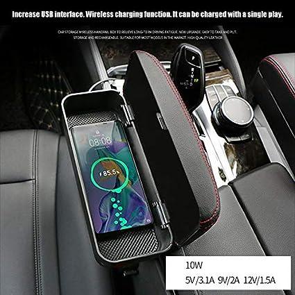 Reuvv Auto Braccio Riposo Scatola Pastiglia Wireless Carica Consolle Centrale Inserti Bracciolo Contenitore Scatola Supporto Contenitore Auto Bracciolo Pastiglia Nero e Rosso