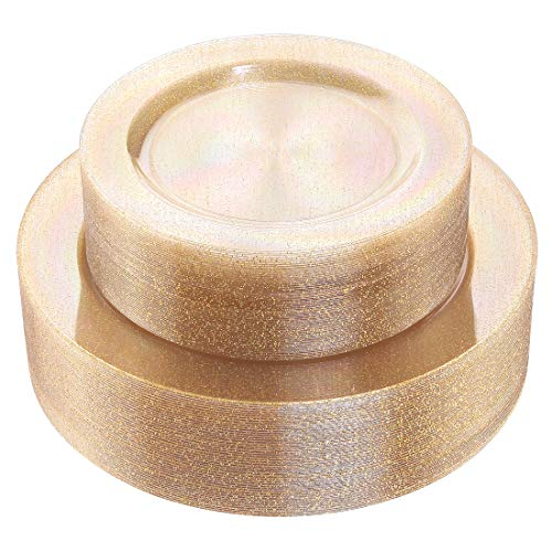 102 Pieces Gold Glitter Plastic Plates, Premiun Disposable Plates, Clear Plates Includes: 51 Dinner Plates 10.25 Inch and 51 Salad/Dessert Plates 7.5 Inch -