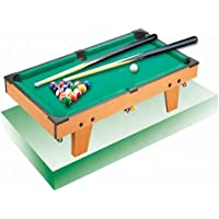 GetBest Pool and Billiard Wooden Table Game for Kids with 2 Cue and 16 Balls, Green