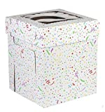 CakeSupplyShop 16inch X 16inch X 12inch Tall Double Layer Cake Carry Transport Box - 1ct with Butterfly Cake Topper