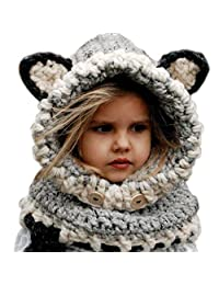 Baby Hats TOOPOOT Winter Baby Girls Wool Knitted Fox Hats with Shawls